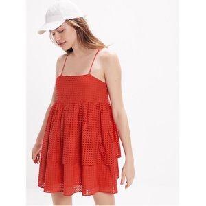 UO Katrina Eyelet Tiered Ruffle Mini Dress
